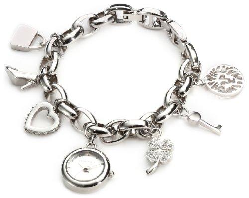 アン・クライン レディース 腕時計 Anne Klein Women's  10-7605CHRM Swarovski Crystal Silver-Tone Charm Bracelet Watch