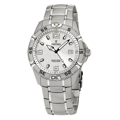 Festina フェスティナ メンズ 腕時計 Estuche F16170/1 Silver Stainless-Steel Quartz Watch with Silver Dial