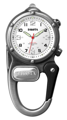 Dakota ダコタ ミニクリップ Watches Mini Clip Watch/Microlight, White Dial, Silver Case 3842-6