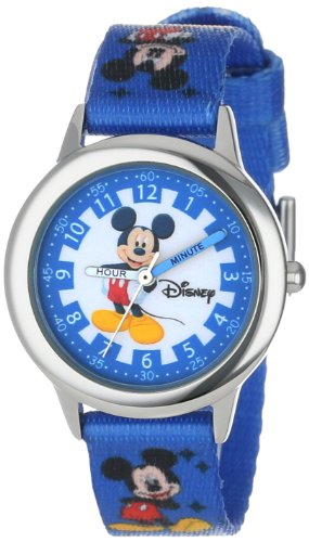 ディズニー 腕時計 キッズ 時計 子供用 ミッキー Disney Kids' W000022 Mickey Mouse Time Teacher Stainless Steel Watch