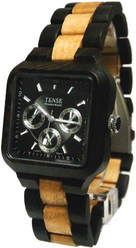テンス 時計 腕時計 木製 Tense Square Natural Walnut Wood Maple Wood Hypoallergentic Watch B7305WM-B