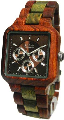 テンス 時計 腕時計 木製 Tense Square Natural Sandal/Green Wood Hypoallergentic Watch B7305SG
