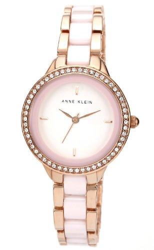アンクライン 時計 レディース 腕時計 Anne Klein Women's AK/1418RGLP Swarovski Crystal Accented Pink Ceramic and Rose Gold-Tone Bracelet Watch