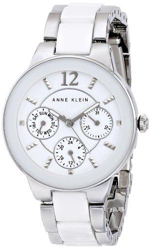 アンクライン 時計 レディース 腕時計 Anne Klein Women's AK/1629WTSV Multi-Function Silver-Tone and White Ceramic Bracelet Watch
