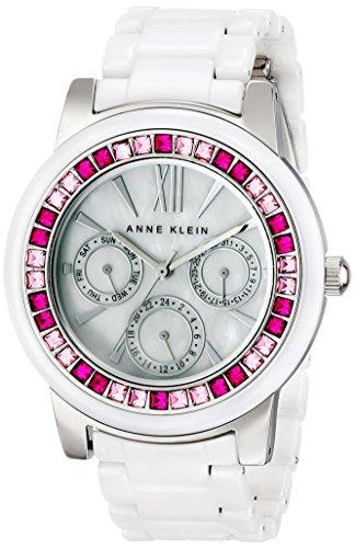 アンクライン 時計 レディース 腕時計 Anne Klein Women's AK/1683PKWT Pink and Fuchsia Swarovski Crystal Accented White Ceramic Bracelet Watch