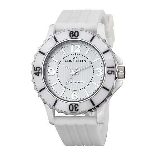 アンクライン 時計 レディース 腕時計 Anne Klein Women's 109419WTWT Silver-Tone Ceramic White Rubber Strap Watch