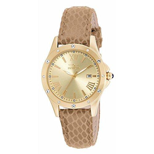 インヴィクタ インビクタ 腕時計 レディース 時計 Invicta Angel Gold Dial Brown Leather Ladies Watch 14842