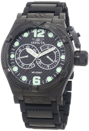 インビクタ 時計 インヴィクタ メンズ 腕時計 Invicta Men's 0388 Corduba Chronograph Black Carbon Fiber Dial Black Polyurethane Watch