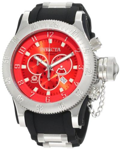 インビクタ 時計 インヴィクタ メンズ 腕時計 Invicta Men's 10135 Russian Diver Chronograph Red Dial Black Polyurethane Watch