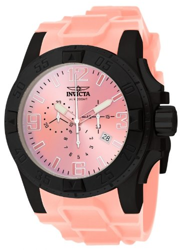インビクタ 時計 インヴィクタ メンズ 腕時計 Invicta Mens Excursion Swiss Chronograph Black IP Stainless Steel Case Pink Strap Watch 11917