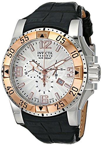 インビクタ 時計 インヴィクタ メンズ 腕時計 Invicta Men's 10898 Excursion Chronograph Silver Textured Dial Black Leather Watch