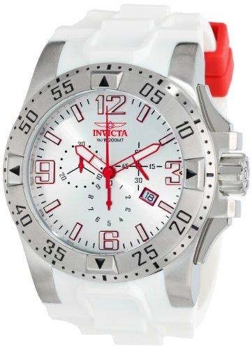 インビクタ 時計 インヴィクタ メンズ 腕時計 Invicta Men's 11795 Excursion Chronograph Silver Dial White Polyurethane Watch