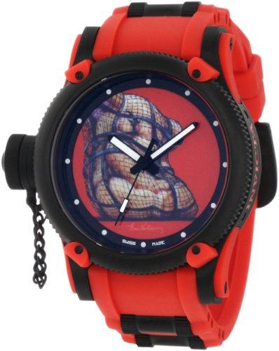 インビクタ 時計 インヴィクタ メンズ 腕時計 Invicta Men's 11151 Russian Diver Lace Twin Red Artist Series Dial Red Polyurethane Watch