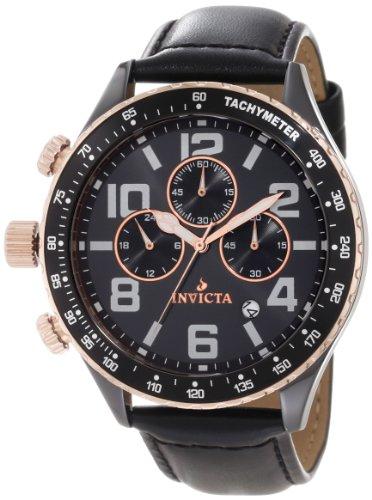 インビクタ 時計 インヴィクタ メンズ 腕時計 Invicta Men's 11252 Ceramics Chronograph Black Dial Black Leather Watch