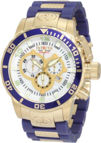 インビクタ 時計 インヴィクタ メンズ 腕時計 Invicta Men's 10619 Corduba Chronograph Mother-Of-Pearl Dial Blue Polyurethane and 18k Gold Plated Watch