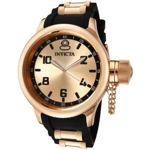 インビクタ 時計 インヴィクタ メンズ 腕時計 Invicta Men's 1439 Russian Diver Rose Dial Black Rubber Watch