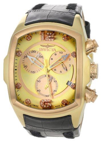 インビクタ 時計 インヴィクタ メンズ 腕時計 Invicta Men's 6742 Lupah Chronograph Diamond Accented Black Leather Watch