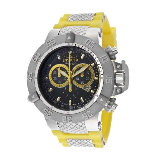 インビクタ 時計 インヴィクタ メンズ 腕時計 Invicta Men's 13997 Subaqua Chronograph Black Enamel Dial Yellow Silicone Watch