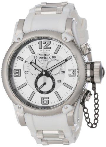 インビクタ 時計 インヴィクタ メンズ 腕時計 Invicta Men's 11365 Russian Diver Chronograph White and Silver Tone Dial White Polyurethane Watch