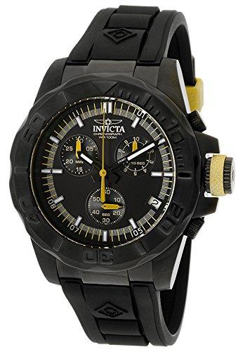 インビクタ 時計 インヴィクタ メンズ 腕時計 Invicta Men's Pro Diver Chrono Black Polyurethane and Dial Yellow Accent