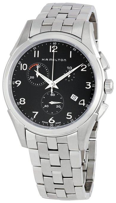 ハミルトン ジャズマスター メンズ 腕時計 Hamilton Men's H38612133 Jazzmaster Thinline Chrono Black Dial Watch
