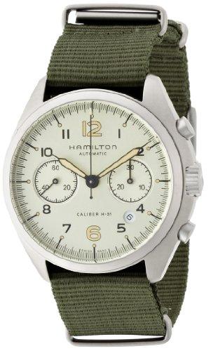 ハミルトン カーキ メンズ 腕時計 Hamilton Khaki Pilot Pioneer Automatic Chronograph Ivory Dial Black Ivory Canvas Mens Watch H76456955