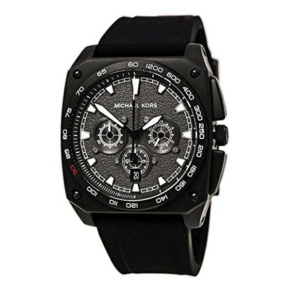 マイケルコース Michael Kors メンズ 腕時計 時計 Michael Kors Grandstand Chronograph Black Sandblasted Dial Black Silicone Mens Watch MK8390