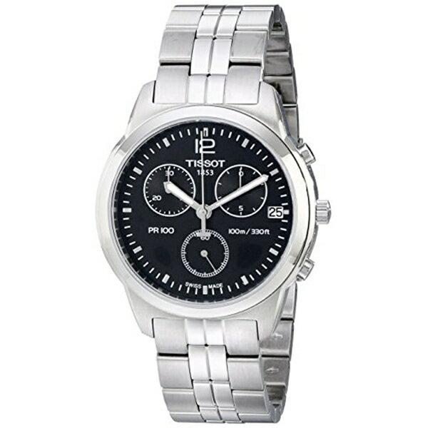 ティソ Tissot 腕時計 メンズ 時計 Tissot Men's T0494171105700 PR 100 Black Chronograph Dial Watch