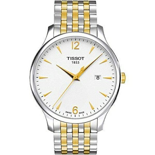 ティソ Tissot 腕時計 メンズ 時計 Tissot T-Classic Tradition White Dial Two Tone Men's Watch T0636102203700