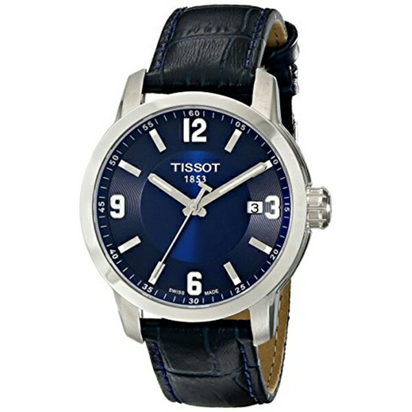 ティソ Tissot 腕時計 メンズ 時計 Tissot Men's TIST0554101604700 PRC 200 Stainless Steel Watch with Blue Leather Band