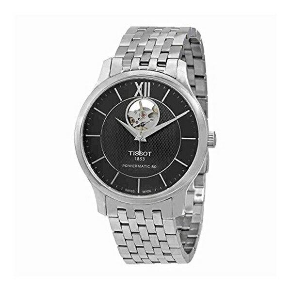 ティソ Tissot 腕時計 メンズ 時計 Tissot Tradition Automatic Open Heart T063.907.11.058.00 Black/Silver Stainless Steel Analog Automatic Men's Watch