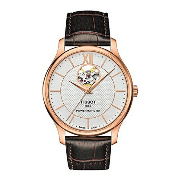 ティソ Tissot 腕時計 メンズ 時計 Tissot Tradition Automatic Open Heart T063.907.36.038.00 Silver/Brown Leather Analog Automatic Men's Watch