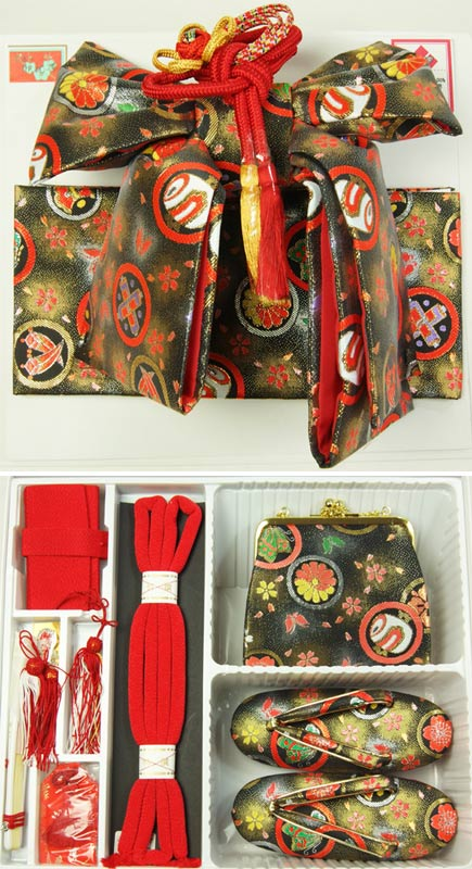 子供着物七五三結び帯ペアセット 黒地に帯・ハコセコ サイズ中(5才用) ジュニア用帯 送料無料