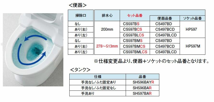 ##TOTO パブリックコンパクト便器・タンク式【CS597BMS+SH596BAR】リモデル対応278~513mm 掃除口なし 手洗いなしふた固定なし(旧品番CS597BM SH596BA)