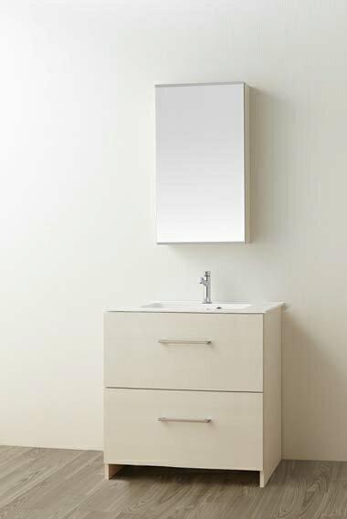 ###三栄水栓【WF019S2-750-IV-T1】(木目ホワイト) 洗面化粧台 (鏡付) WAILEA