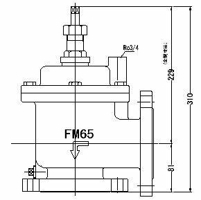 FMバルブ製作所【FMバルブ 3型 65A】(アングル型) 取付タイプ:フランジ型 本体材質:FCD450