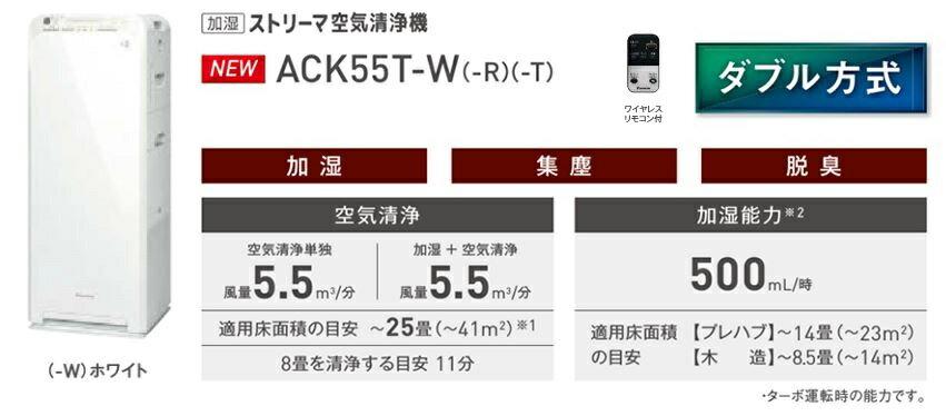 ###ダイキン 加湿ストリーマ空気清浄機【ACK55T-W】(ホワイト) 床置形 ダブル方式 ワイヤレスリモコン付