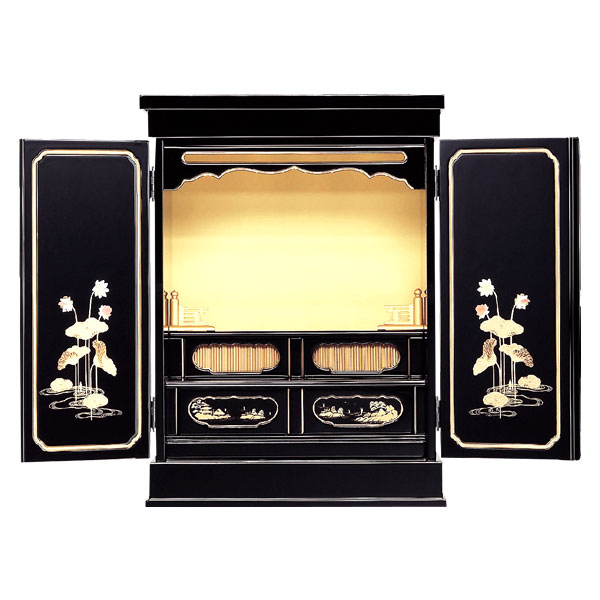 塗りモダン上置 【蓮華】 二枚戸 蒔絵入 モダン仏壇 現代のライフスタイルに合わせた新しい仏壇