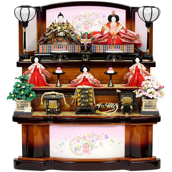 【数量限定】 雛人形 ひな人形 三段飾り 五人飾り 【RO200S61】 【オリジナル】 衣裳着人形 桃の節句/ひな祭り/お雛様 【送料無料】