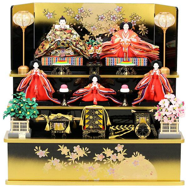 【数量限定】 雛人形 ひな人形 三段飾り 五人飾り 【RO510S61】 衣裳着人形 桃の節句/ひな祭り/お雛様 【送料無料】