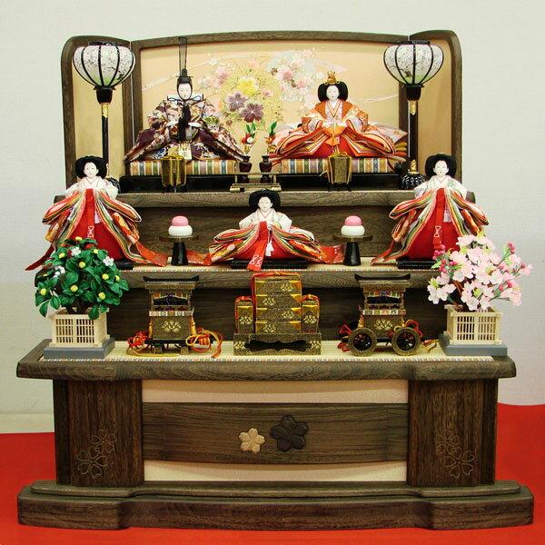 【展示現品】 雛人形 ひな人形 三段飾り 五人飾り 【562S51】 【FTA-16OR】 衣裳着人形 桃の節句/ひな祭り/お雛様 【送料無料】