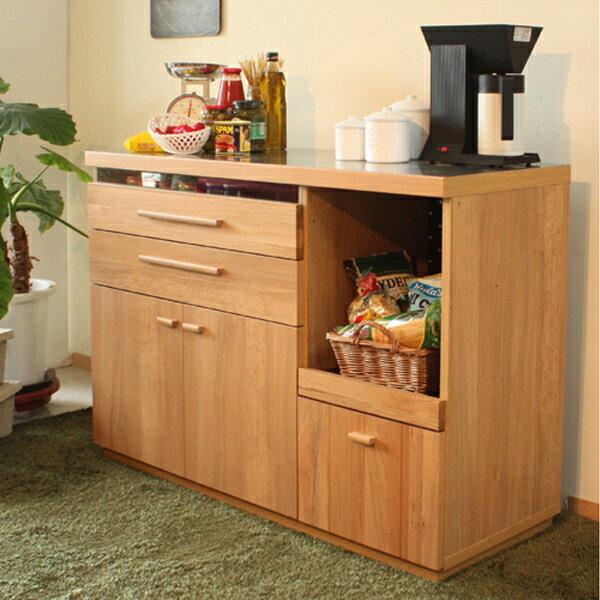 キッチンカウンター キッチン収納 食器棚 オーク材の木目の美しい日本製のシリーズ 【OCTA オクタ】 120カウンター 幅120 収納家具 北欧