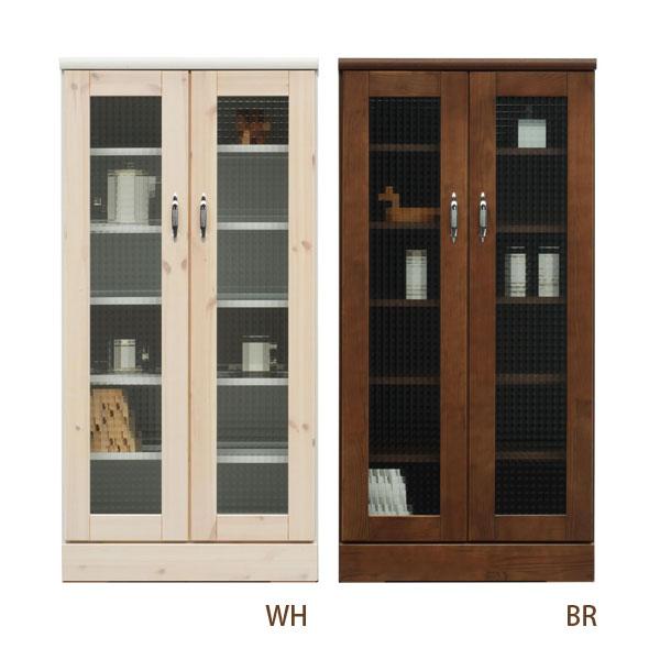 キャビネット ガラス戸 リビング 収納 本棚 【バニラ 60キャビネット WH・BR】 ホワイト/ブラウン【送料無料】