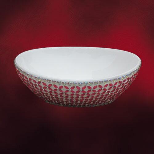 陶器洗面ボウル(洗面器・手洗器・シンク・洗面台・手洗い鉢・洗面ボール・水廻り・おしゃれ・置き型) W400×D330×H145 INK-0403223H
