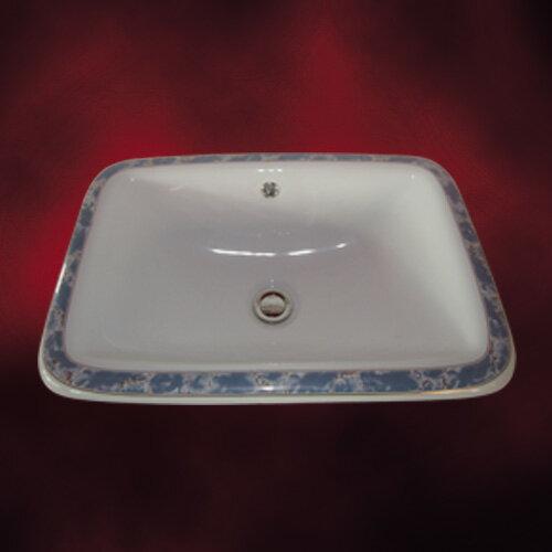 -アウトレット-(多少の柄のずれ有り)陶器洗面ボウル(手洗い鉢・ボール・埋込シンク・埋め込み・絵・柄)W550×D380×H187 INK-0403016H
