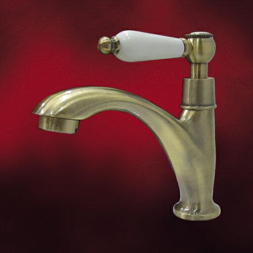 陶器レバーハンドル単水栓(蛇口・カラン・おしゃれ・インテリア・水廻り・洗面)古金 INK-0302063HT