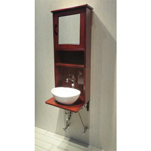 【Eセット65】木製ミラーキャビネット一体型洗面化粧台セット(混合水栓・ブラウン)  W440×D360×H1020 INK-0504135Hset2