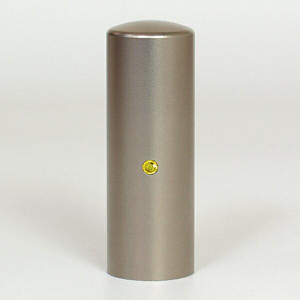 先生印(資格印・職印・士業印)丸印・シルバーブラストチタン・丸寸胴(スワロフスキーアタリ付)・シトリン・印面直径約21mm×長さ約60mm・ケース別売り