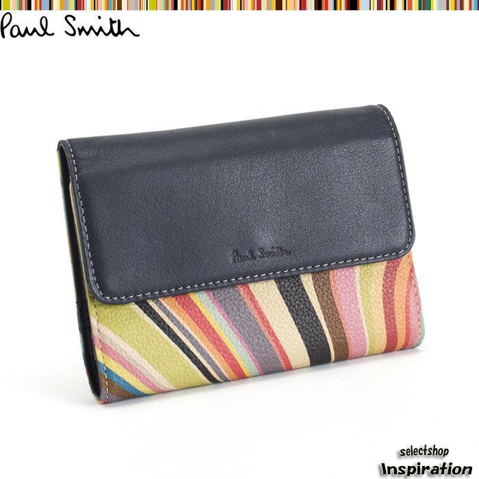 展示品箱なし ポールスミス Paul Smith 手帳 システム手帳 カード&パスケース付き ネイビー pwu456-30 レディース 婦人