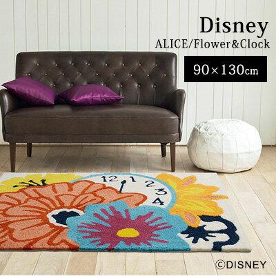 ALICE/(アリス) フラワー&クロックラグ/90×130cm ラグ ラグマットリビング カーペット 絨毯 防ダニ 床暖房対応 日本製 ALICE IN WONDERLAND ディズニー disney スミノエ おしゃれ クライン